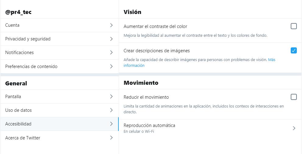 Captura de pantalla opciones de accesibilidad en twitter